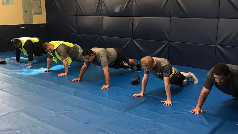 Students doing pushups