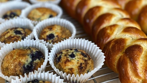 Baked bread and blueberry muffins